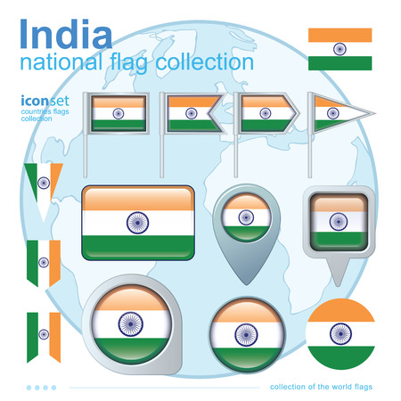 ensign: Flag of India, icon collection, vector illustration
