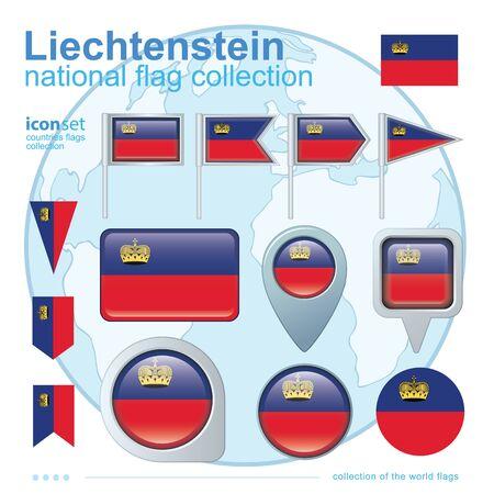 liechtenstein: Flag of Liechtenstein , icon collection, vector illustration
