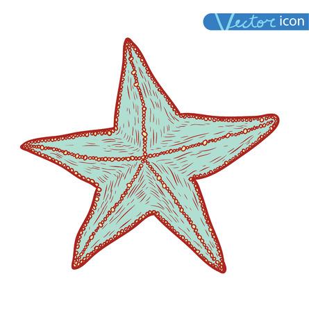 finger fish: icon Starfish. hand drawn Vector Illustration