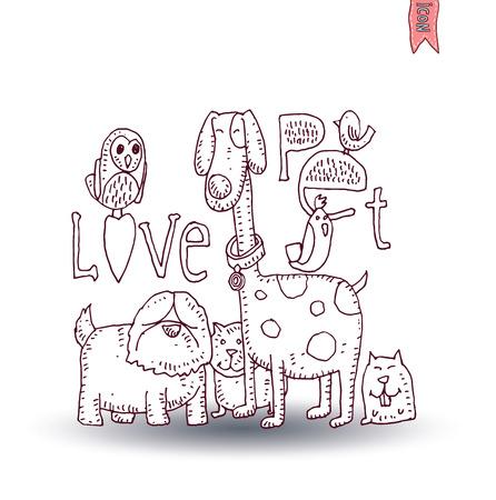love card: pet love card,vector illustration.