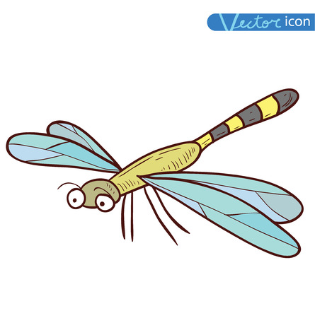 antenna dragonfly: dragonfly cartoon, insect icon. vector illustration.