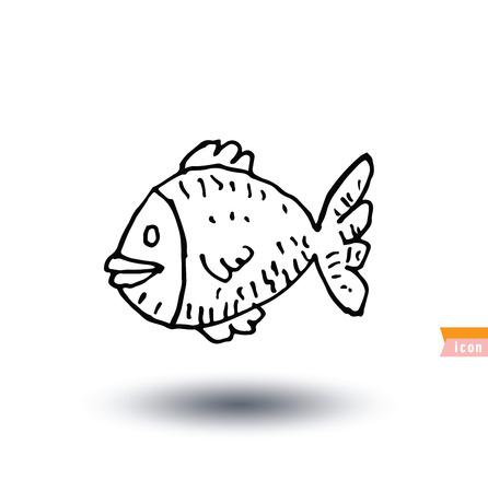 hand line fishing: Fish icon, vector illustration.