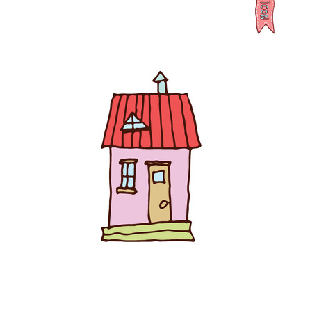 house drawing: House icon, vector illustration.