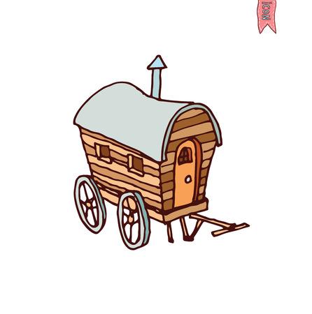 pioneer: cheval ic�ne de wagon de transport, illustration vectorielle.