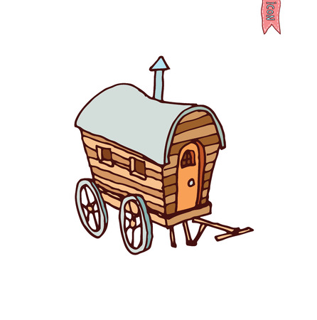 miserable: horse carriage wagon icon, vector illustration. Illustration