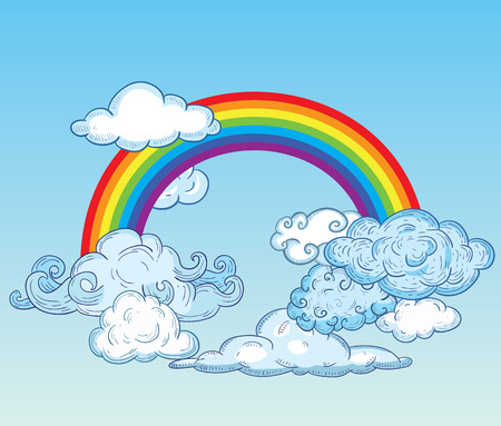 meteorology: Doodle Clouds and rainbow, Hand Drawn Vector