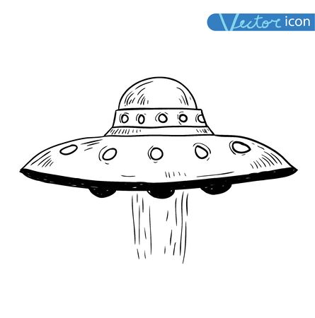 invasion: ufo icon, hand drawn vector illustration.