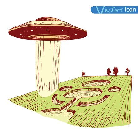 ufology: Ufo icon Pencil drawing sketch. Vector illustration. Illustration