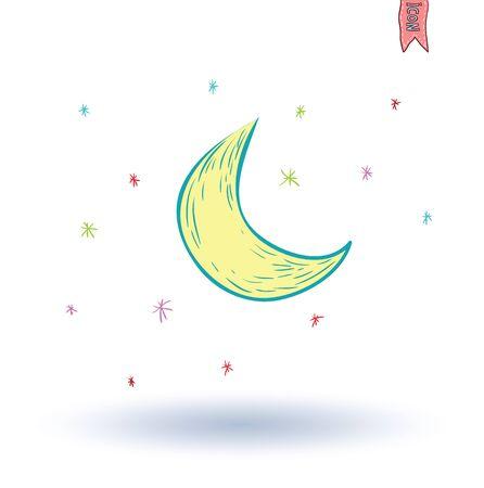 moonbeam: moon icon, hand drawn vector illustration.