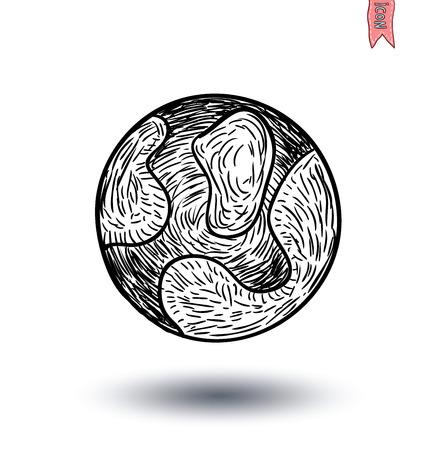 luna: planet icon, hand drawn vector illustration.