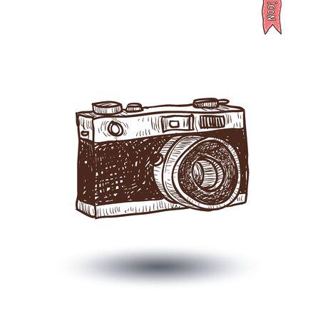 film history: camera icon, vector illustration
