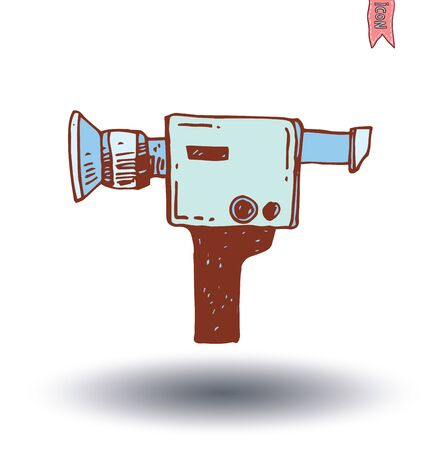 past production: camcorder icon, vector illustration Illustration