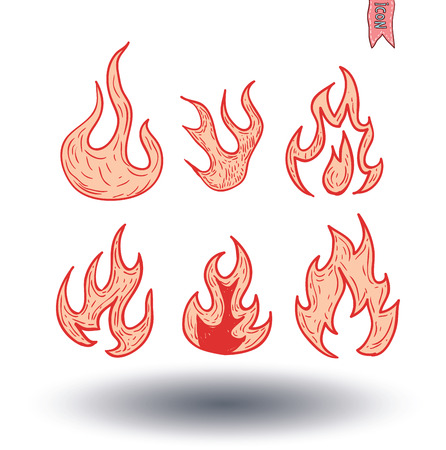 fuoco e fiamme: Fire flames, set icons, vector illustration Vettoriali