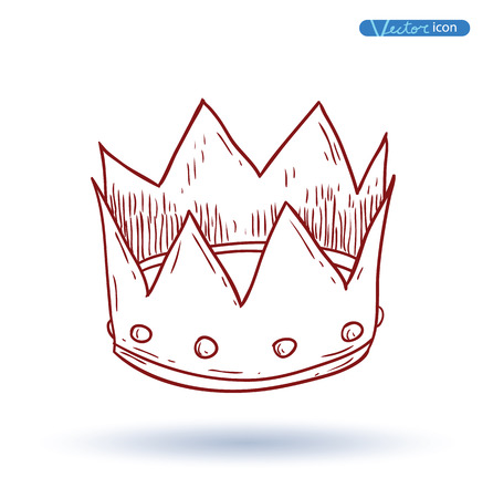 corona de reina: corona, dibujado a mano de vector. Vectores