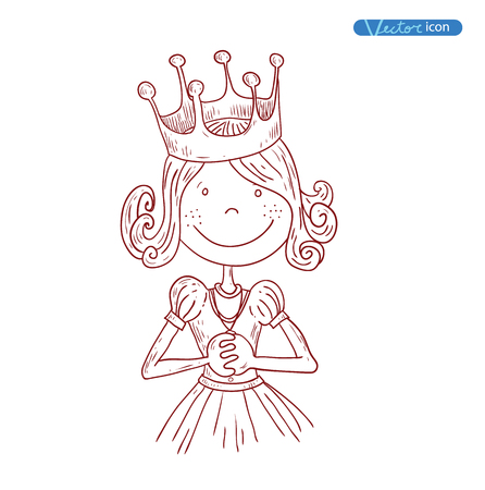crown tail: Princess with crown, hand drawn vector.