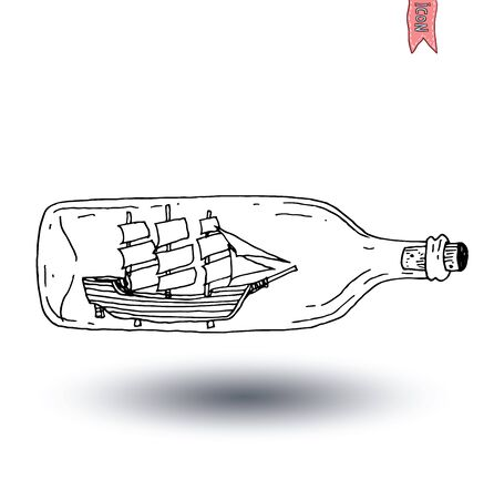 old ship: Bottle with small old ship inside icon, vector illustration