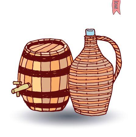 ferment: barrel icon, vector illustration Illustration