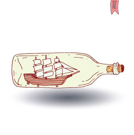 Bottle with small old ship inside icon, vector illustration