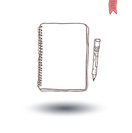 lapiz y papel: Cuaderno. ejemplo dibujado mano del vector.