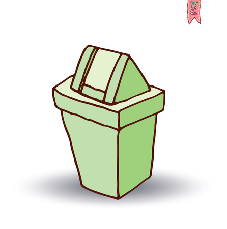 bin tub: trash can icon, vector illustration Illustration