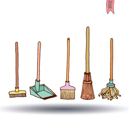 illus: trash broom icon, vector illus Illustration