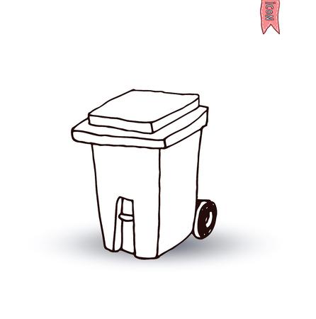 illus: trash can icon, vector illus Illustration