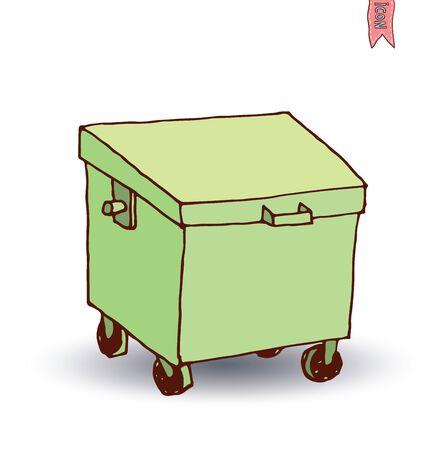 trash can icon, vector illus Illustration