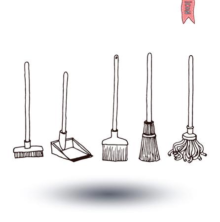 illus: trash broom  icon, vector illus