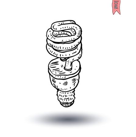 saver bulb: Fluorescente bombilla icono ilustraci�n
