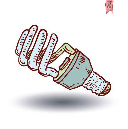 bombillo ahorrador: Fluorescent Light Bulb icon illustration