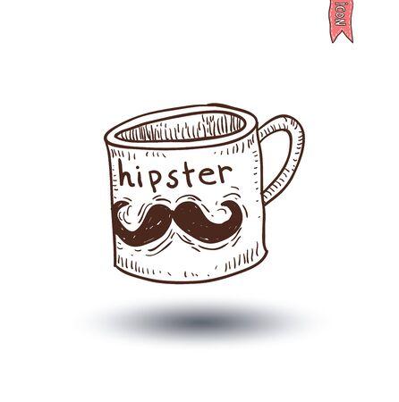 Cup with mustache, hand drawn illustration. Illusztráció