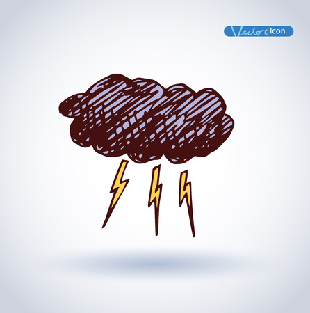 thunder cloud: Thunder cloud, Weather Icons. vector illustration. Illustration