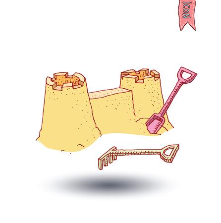 castle sand: Sand castle on beach - vector illustration Vectores