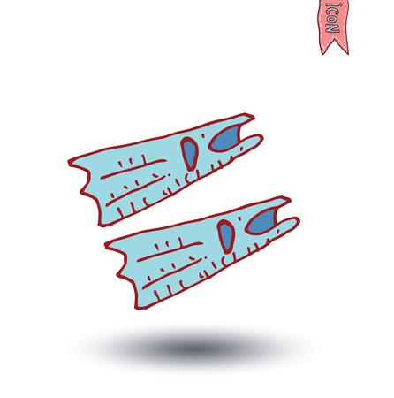 flippers: flippers, vector illustration. Illustration