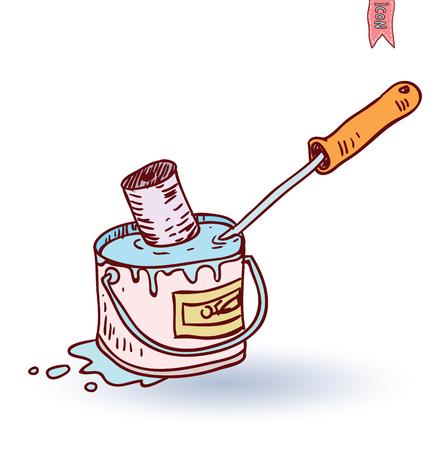 whitewash: Paint roller icon, vector illustration