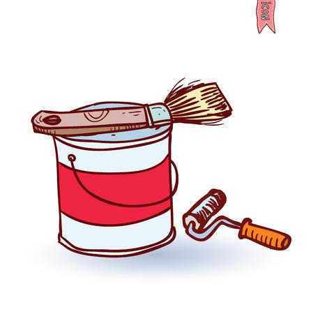 decorating: Paint brush icon, vector illustration