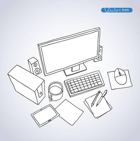 pc icon: deskptop pc  icon, Hand drawn vector illustration.