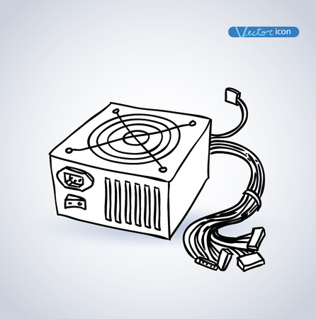 cooler boxes: computer power supply isolated , vector illustration. Illustration