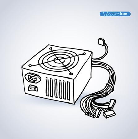 psu: computer power supply isolated , vector illustration. Illustration