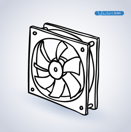 overheat: computer fan vector illustration. Illustration