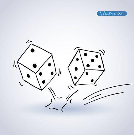 dice: Dice icon, hand drawn vector illustration. Illustration