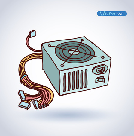 psu: computer power supply isolated , vector illustration. Illustration
