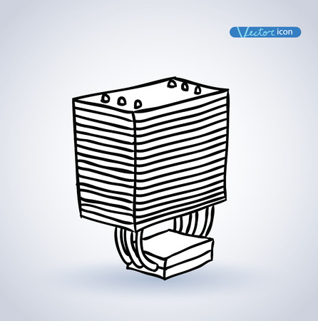 cooler: computer CPU cooler . vector illustration.