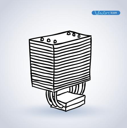 heat sink: computer CPU cooler . vector illustration.