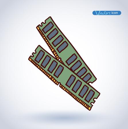 ram memory: Computer RAM Memory Card , vector illustration.