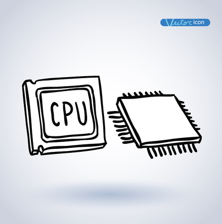 computer cpu: cpu, Computer chip or microchip, vector illustration. Illustration