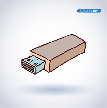 usb drive: USB drive, vector icon Illustration