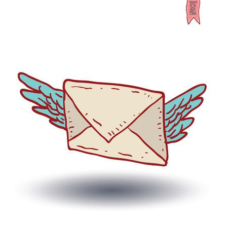 Envelope Mail Icon, Hand-drawn vector illustration 일러스트