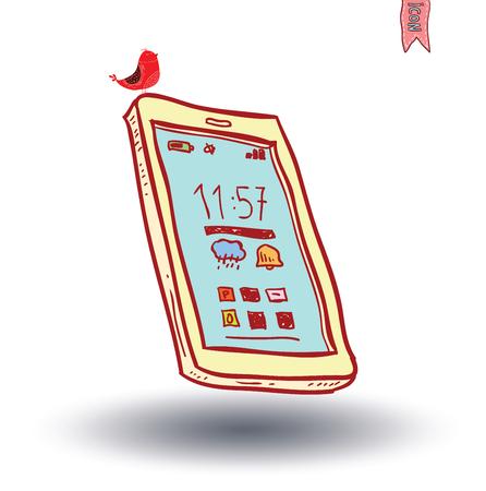 cellphone in hand: smart phone, vector illustration. Illustration
