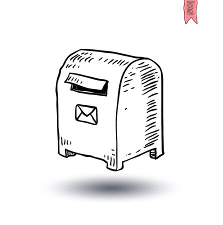 metal mailbox: Mailbox, Hand-drawn vector illustration.